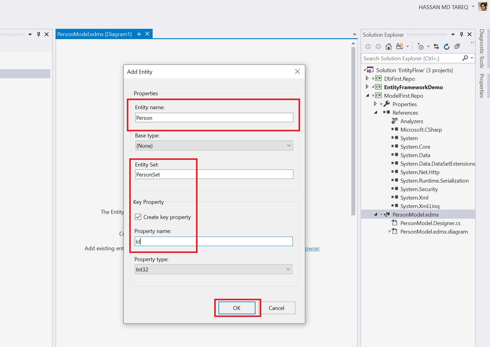 Entity Framework Model Fisrt Approach - Creating edmx Step 8